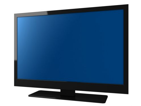 Flat Panel Television with Blue Screen